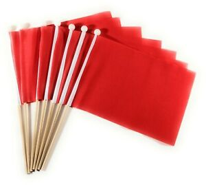Plain Red Waving Hand Flag 6 Pack FREE UK DELIVERY!