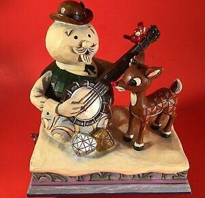 JIM SHORE RUDOLF & SAM THE SNOWMAN MUSICAL RARE PLAYING BANJO ENESCO TRADITIONS