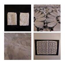 2 napperons rectangles dentelle fait main table meuble art nouveau France N3615