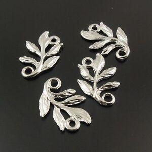 140pcs White K Alloy Leaf Connectors Pendants Jewelry Decoration 15*10*1mm 31139