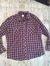 Wrangler Mens Western Pearl Snap Button Shirt Red White Blue Plaid Adult XL EUC