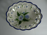 RCCL Portugal Oval Bowl Reticulated Ceramic Blue White Floral Hand Painted