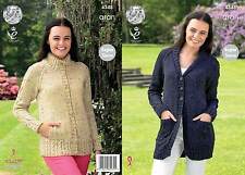 KING COLE 4348 ARAN KNITTING PATTERN SIZE 32-42  NOT the  FINISHED GARMENTS