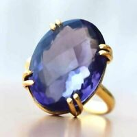 925 Sterling Silver Natural Faceted Tanzanite Gemstone Ring , Handmade Ring