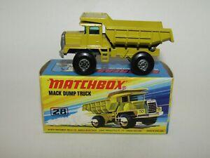 """Matchbox Superfast No 28 Mack Dump Truck Open Steps RARE """"I"""" Box NMIB"""