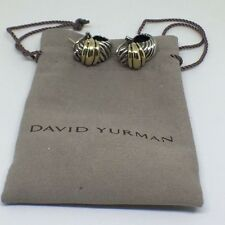 David Yurman Sterling Silver  and 14k Yellow Gold Cable Earrings