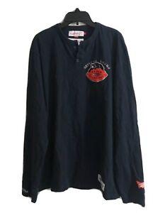 Chicago Bears NFL Throwback Men's Mitchell & Ness Navy Long Sleeve Shirt Sz L