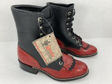 Laredo Womens Lace Up Western Cowboy Boots Leather Black Red Scrolled Lower 6.5