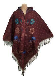 Hooded Poncho Warm Winter Wrap Festival Unisex Jacket Pocket 8 10 12 14 16 18