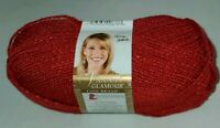 SKEIN/BALL OF LION BRAND VANNA'S GLAMOUR YARN ~ COLOR #114 RED STONE