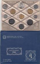 ITALIA DIVISIONALE 1981 ZECCA 11 PEZZI SIGILLATA CON LIRE 500 ARGENTO FDC UNC