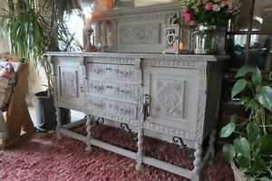 Antique rustic oak sideboard, cabinet. Dresser.