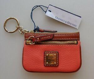 Dooney & Bourke Leather Pebble Grain Coin Wallet Case Key Purse Coral ZR160 NEW
