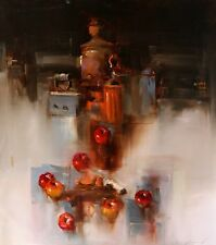 KITCHEN ORIGINAL OIL PAINTING, CLASSIC SURREALISM LARGE SIZE ONE OF A KIND