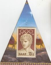 * Olympic stamp+1936 5 mk SILVER EAGLE(.900%,) coin+*1956-SAAR stamp