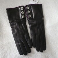 NWT COACH 82042 Black Leather Cashmere Lined 3 Turnlock Gloves Sz 7.5 NEW $98