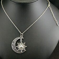 Filigree Gift Alloy Unisex Women Moon And Sun Jewelry Pendant Necklace