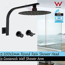 WELS Bathroom Black Thin Rain Shower Head Set Gooseneck Wall Arm Hot Cold Taps