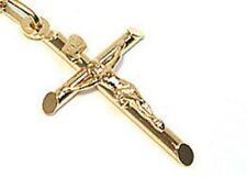 """9ct Gold Crucifix Cross Pendant only or With choice  18"""" -24""""  Chain Gift Boxed!"""
