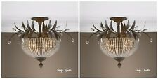 TWO CRYSTAL BEADS BRONZE LEAVES WROUGHT IRON CEILING LIGHT FIXTURE LIGHTING