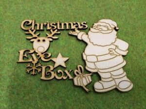 Wooden MDF Laser Cut - Christmas eve box topper with Reindeer and santa