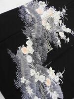 Black Silk Japanese TOMESODE KIMONO w/Crests, Flower, Scenery N929