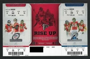 2012-2013 NFL SEAHAWKS & 49ERS @ FALCONS FULL FOOTBALL PLAYOFF TICKET SHEET