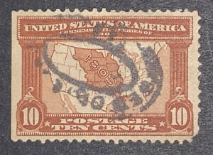 TRAVELSTAMPS:1904 US Stamps Sc # 327 used ng 10c map of Louisiana Purchase