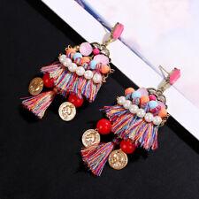 Femme Boucles D'oreille Pendantes Imitation Perle Strass Frange Coloré Bijoux Nf
