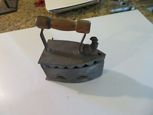 Antique Cast Iron Coal Iron w/Rooster & Wood Handle