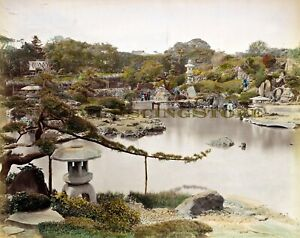"""Kusakabe Kimbei """" Prince Hotta Garden, Japan"""" © 1890 Reprint"""