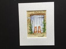 aceo original watercolour painting By Toni Ginger Twins By The Cottage Door