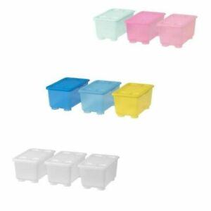 Ikea Glis Storage Box 3 Set 17x10x8 cm Detachable Lids, Free and Fast Delivery