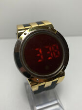 ONYK Touch Screen Red Digital Stainless Steel Mens Watch Gold Tone Dress Cool