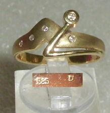 Ring aus 585er Gold mit Diamanten 0,05 ct.,  Gr. 58, Ø 18,5 mm (da3642)