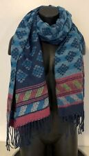 Hollister Multicolor Fringed Soft Scarf Wrap Blues Pink Green Geometric 70 x 27