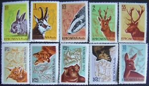 Romania-1961,Wild Animals from Romania, 10 Stamps. MNH, RO186