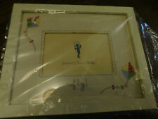 Pottery Barn Kids Picture Frame w Linen & Kite Fly Embroidered Matting 5.5 x 3.5
