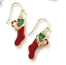 "Red Stocking Earrings with Candy Cane & Present  Hook Avon 1"" L."