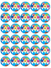 30x Baby Shark Cupcake Toppers Edible Wafer Paper Fairy Cake Toppers