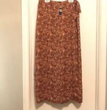 Skirts Charter Club Sz10 Long Skirt Brown Tan Slit Zip In Back Women's Clothing