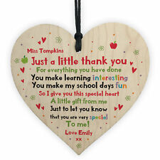 Handmade Personalised Teacher Gift Wooden Heart Thank You Leaving Gift Keepsake