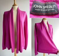 JOHN SMEDLEY Pink 100% Merino Wool Cardigan Top Size S UK 10 approx