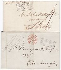 # 1811/18 HAWICK DIFF MILEAGE PMK WRAPPERS BEFORE & AFTER ADDL½d SELKIRK & EDINB