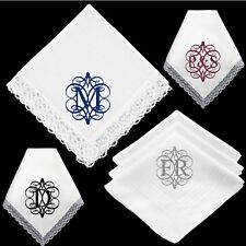 3 x Personalised Monogram Letter Initials Scroll Wedding Handkerchief Gift