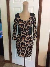 Derek heart animal pattern junior medium size mini dress 3/4 sleeves
