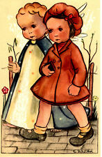 "Vintage Netherlands Postcard Young Girl & an Angel Walking 3.5"" x 5.5"""