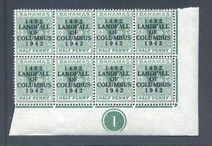 BAHAMAS 1942 LANDFALL COLUMBUS Dot in O..CYL BLOCK of 8