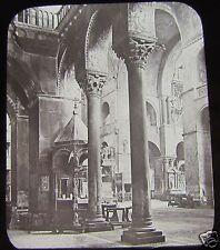 Glass Magic lantern Slide VENICE ST MARKS CATHEDRAL INTERIOR  C1890 ITALY L65