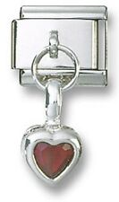 Italian Charm Sterling Silver Birthstone Heart Dangle CZ January Stainless Steel